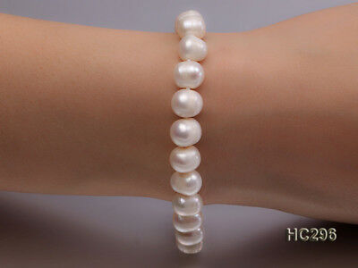 Natural 8-9mm White Real Round Freshwater Cultured Pearl Bracelet 7.5