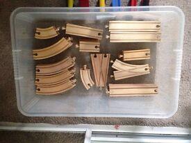 43-piece wooden train set