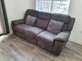 Grey fabric recliner sofa- Collection only