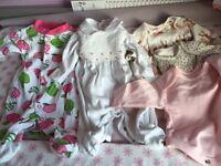 Newborn/up to one month baby gros/sleep suits/vest some unworn. Next/F&F/M&P