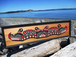 """68"""" Sisiutl wall panel, First Nations, framed, signed, 1971"""