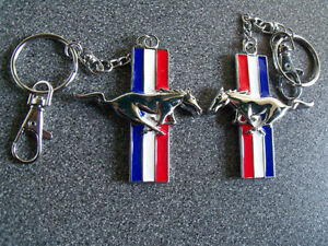 Mustang Horse Key Chain Fob Ring Keychain red white & blue metal London Ontario image 1