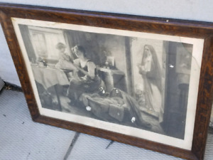 Antique Print and Wooden Frame