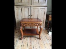 Vintage Occasional Table Carved and Inlaid