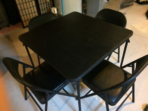 Black folding leather top card table