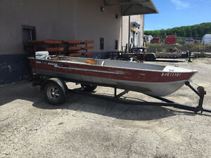 14' Aluminum boat with trailer and 9.9 Johnson