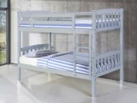 for kids and adults - Single Wooden Bunk Bed Frame in White and Oak Color Options