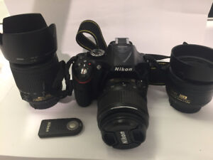 Nikon d5200 + 3 lenses (35mm f1.8, 18-55mm, 55-200mm)