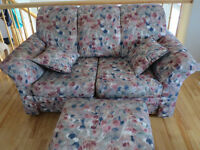 loveseat, comfy chair and ottoman