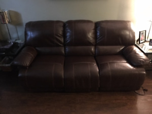 Genuine leather couch - brown
