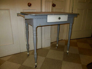 Antique Solid Wood Desk/Small Kitchen Island /Vanity on Casters