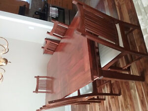 Solid Teak Dining Table and 6 Chairs