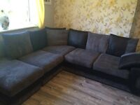 Black & grey cord corner sofa
