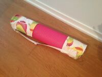 Pink yoga mat with custom carry case!