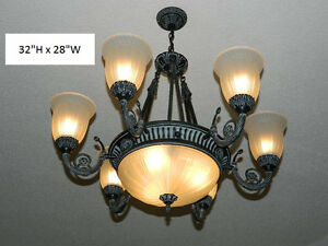 Iron 9 Lamp Chandelier With Glass Shades