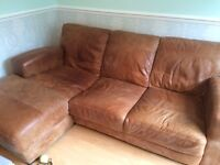 Dfs brown leather sofa- Caeser