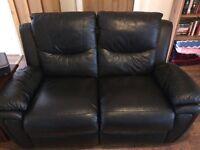 Italian leather sofa set, black 3 and 2 seater