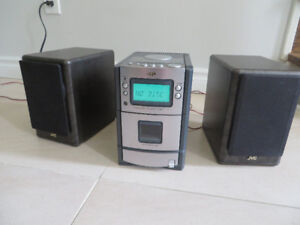 JVC Shelf Stereo CD Radio Tuner Cassette Player with Speakers