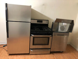 Complete kitchen stainless steel approves set fridge stove dish