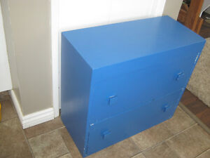 Handmade solid wood blue two drawer cabinet/dresser