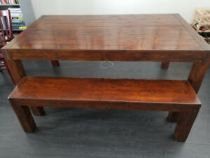 Post & Rail Reclaimed Wood Dining Table and Bench