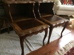 Pair of Vintage Solid Wood Side Tables (2- Levels)