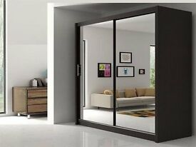 150 CM🏩Chicago 2 Door Sliding Wardrobe Full Mirror, Shelves, Hanging Rails Express Delivery
