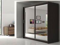 150 CM🏩Chicago 2 Door Sliding Wardrobe Full Mirror, Shelves, Hanging Rails Express Delivery