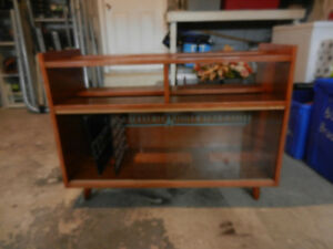 Vintage Record Storage Cabinet With Glass Doors Solid Wood