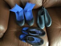 Wet boots, size S, sand shoes size 6, water shoes size 6.