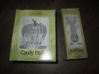 Lead Crystal Bud vase and candy dish NEW IN BOX