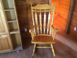 Large solid heavy wood rocking chair