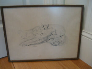 OLD VINTAGE PROFESSIONALLY FRAMED PENCIL SKETCH