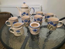 Vintage 6 mug coffee set coffee pot milk jug sugar bowl