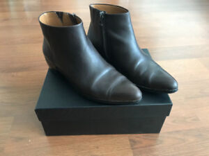 COACH Montana ankle boots bootie leather dark brown size 8 38