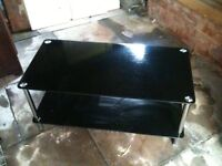 Black and silver television stand