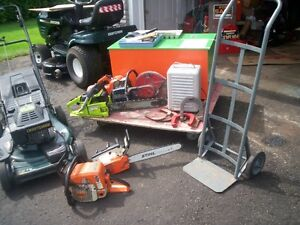 stuff for sale--toy box----3 chainsaws---heater-golf balls   ect