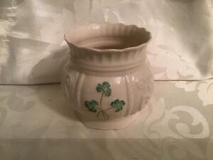 Belleek Ireland  Shamrock Hand Painted Vase