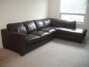 Top Grain Natuzzi Leather Sectional Couch, Delivery Available