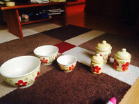 Yellow and red decorative jar and bowl set