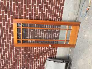 Old glass and solid wood door