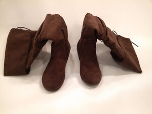 Brown Faux Suede Knee-High Fashion Boots London Ontario image 2