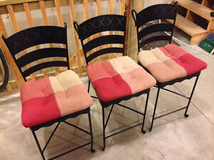 Three Wrought Iron Counter Chairs