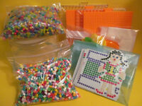 Perler beads lot with fusion boards and pattern cards