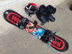 Snowboard, bindings, boots and helmet