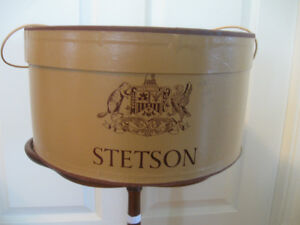 "LARGE OVAL BAILED STETSON HAT BOX...""CREAM-of-the-CROP"""