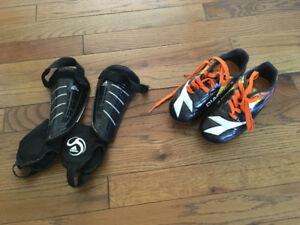 Size 11 Soccer Cleats and Size XS Shin Pads