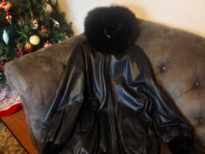 Beautiful Mink An Leather Reversible Jacket Size XL Ladies