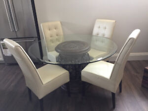 Leather Parsons Chairs - Cream colored.