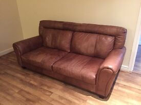 DFS - 3 Seater Sofa real brown leather